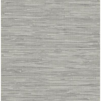 Tibetan Grasscloth Peel and Stick Grey Wallpaper Sample
