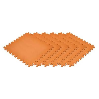 Orange24 in. x 24 in. Non-Toxic EVA Foam Solid Color Interlocking Tiles