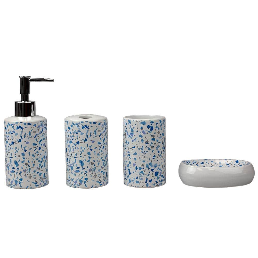 Home Basics Trendy Terrazzo 4 Piece Ceramic Bath Accessory Set In Blue Hdc65630 The Home Depot