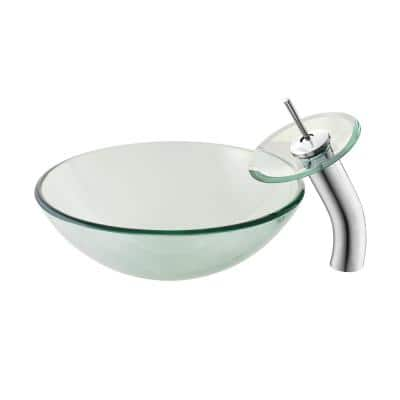 Cascade Clear Round Glass Vessel Sink with Cascade Faucet