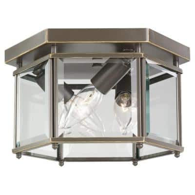 Bretton 10 in. 3-Light Bronze Traditional Classic Flush Mount with Clear Glass Panels