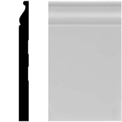 5/8 in. x 7-1/4 in. x 96 in. MDF Primed Baseboard Moulding