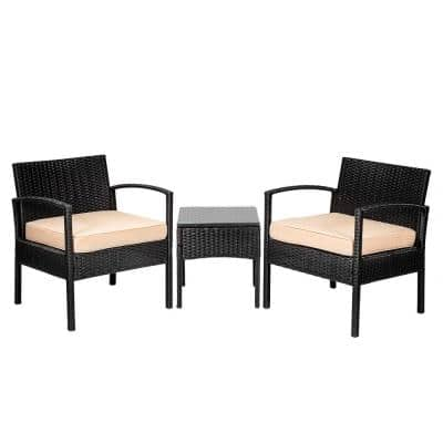 Stationary 3-Piece Wicker Outdoor Bistro Set with Cream Cushions