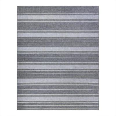 Calypso Iker Silver 8 ft. x 10 ft. Striped Indoor/Outdoor Area Rug