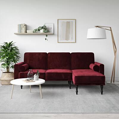 Elinda Burgundy Velvet Small Space Sectional Futon