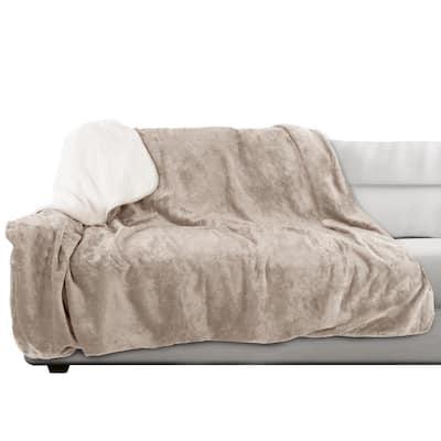 60 in. x 70 in. Tan Machine Washable Waterproof Pet Blanket