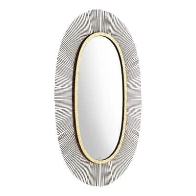 Medium Oval Black Modern Mirror (38.2 in. H x 24.5 in. W)