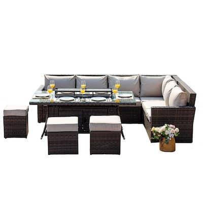 ELLE 8-Piece Wicker Patio Fire Pit Conversation Sofa Set with Beige Cushions