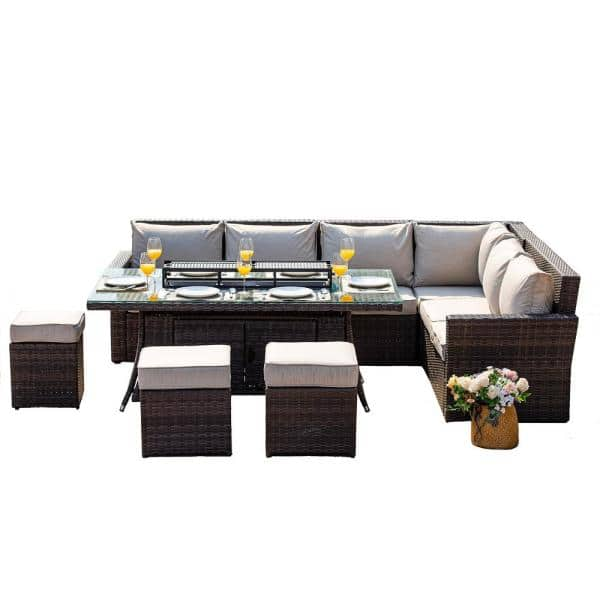 Direct Wicker Beverly 8 Piece Patio Fire Pit Conversation Set With Beige Cushions Pag 2403 The Home Depot