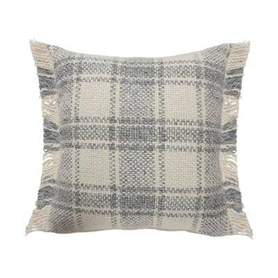 Angelica White / Grey Striped Plaid Fringed Casual Soft Poly-fill 20 in. x 20 in. Throw Pillow