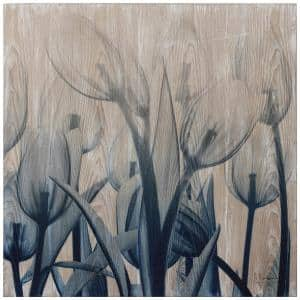 Blue Tulip X-Ray Photography Giclee Printed on Hand Finished Ash Wood Wall Art