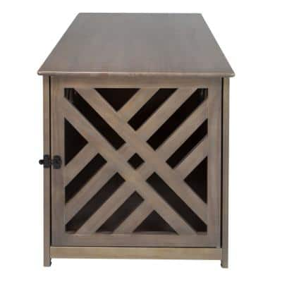 Modern Lattice Wooden Pet Crate End Table, Gray
