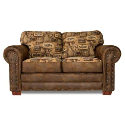 River Bend 67 in. brown Pattern Microfiber 2-Seater Loveseat with Removable Cushions
