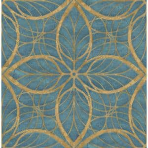 Patina Lattice Metallic Blue and Antique Gold Geometric Paper Strippable Roll (Covers 56.05 sq. ft.)