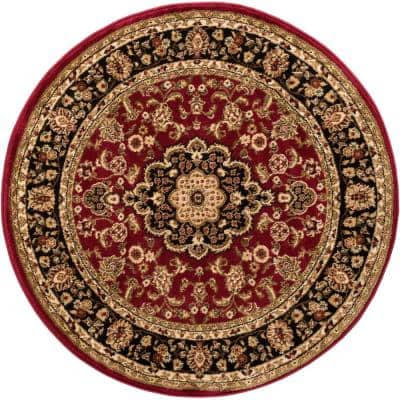 Barclay Medallion Kashan Red 4 ft. x 4 ft. Round Area Rug