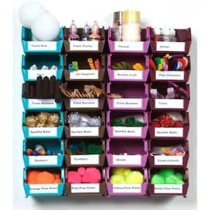 LocBin Small Wall Storage Bin (24-Piece) with 2-Wall Mount Rails in Multi Colored