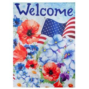 12.5 in. x 18 in. Welcome Patriotic Floral Outdoor Garden Flag