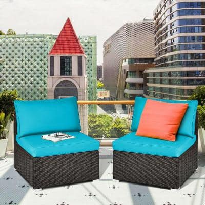 2-Piece Wicker Patio Rattan Armless Sofa Sectional Furniture Conversation Set with Turquoise Cushions