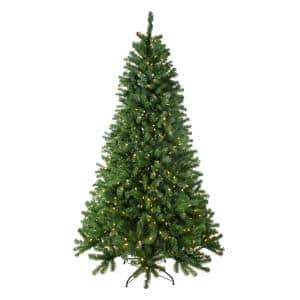 7.5 ft. Pre-Lit Multi-Function LED Basset Pine Artificial Christmas Tree, Dual Lights