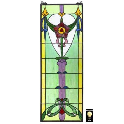 Presentation Rose Tiffany-Style Stained Glass Window Panel