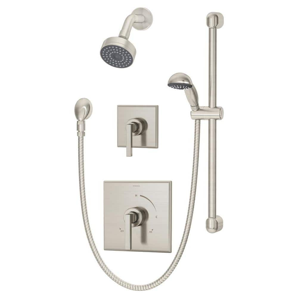 Symmons Duro 1 Spray Hand Shower And Shower Head Trim In Satin Nickel Valve Not Included 3605 H321 V Stn Trm The Home Depot
