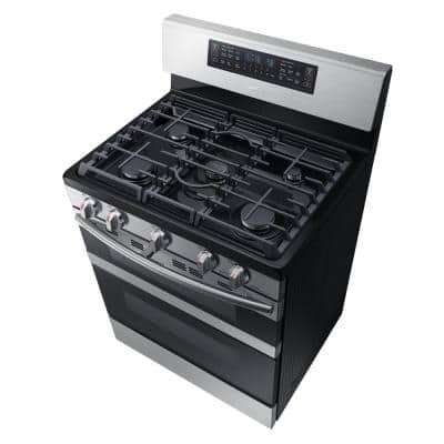 30 in. 5.8 cu. ft. Dual Door Gas Range Double Oven with Self-Cleaning and Dual Convection Oven in Stainless Steel