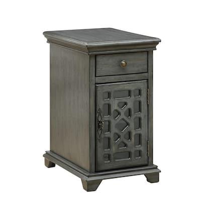 Joplin Texture Grey 1-Drawer 1-Door Chairside Cabinet