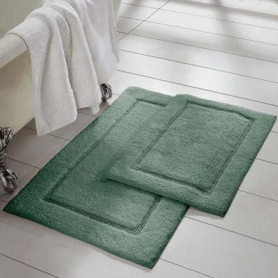 Eucalyptus 2-Pack Solid Loop with Non-Slip Backing Bath Mat Set