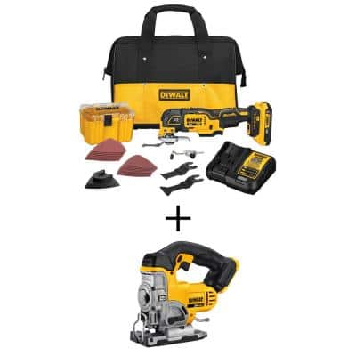 20-Volt MAX XR Cordless Brushless 3-Speed Oscillating Multi-Tool with (1) 20-Volt 2.0Ah Battery & Jigsaw