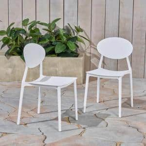 Westlake White Armless Plastic Outdoor Dining Chairs (2-Pack)