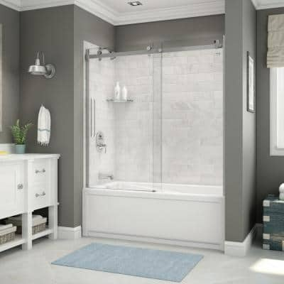 Utile 32 in. x 60 in. x 81 in. Bath and Shower Combo in Marble Carrara with New Town Left Drain, Halo Door Chrome