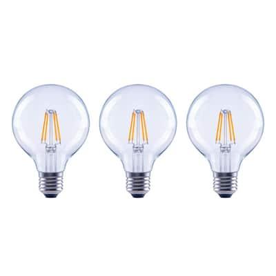 60-Watt Equivalent G25 Globe Dimmable ENERGY STAR Clear Glass Filament Vintage LED Light Bulb Soft White (3-Pack)