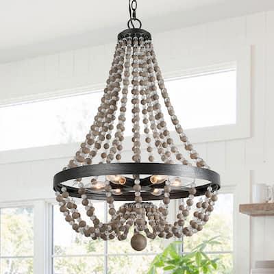 Farmhouse Wood Crystal Beaded Brushed Black Basket Empire Chandelier Boho 6-Light Dark Gray Beads Ceiling Light