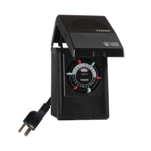 15 Amp 24-Hour Indoor/Outdoor Plug-in Heavy Duty Mechanical Timer with 2-Grounded Outlets in Black