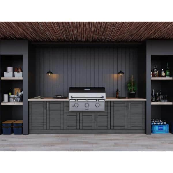 Weatherstrong Sanibel Dark Ash 17 Piece 121 25 In X 34 5 In X 28 In Outdoor Kitchen Cabinet Set Wse120wm Sda The Home Depot