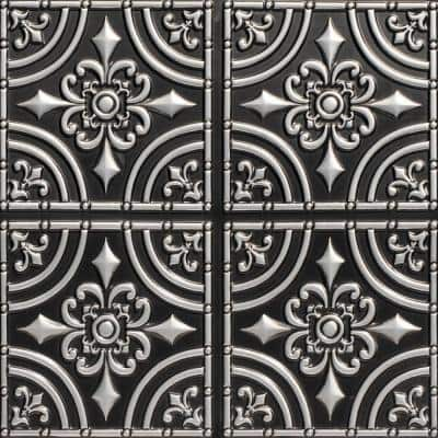 Wrought Iron 2 ft. x 2 ft. Glue Up PVC Ceiling Tile in Antique Silver