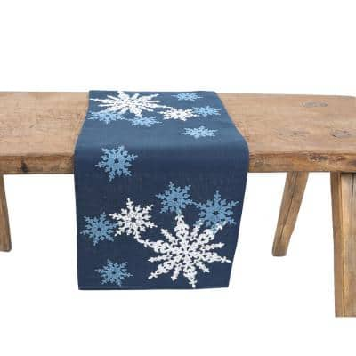 15 in. x 90 in. Magical Snowflakes Crewel Embroidered Christmas Table Runner, Dark Blue