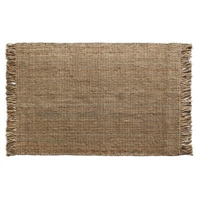 Urban Fringed Natural 5 ft. x 7 ft. Hand Loom Woven Area Rug