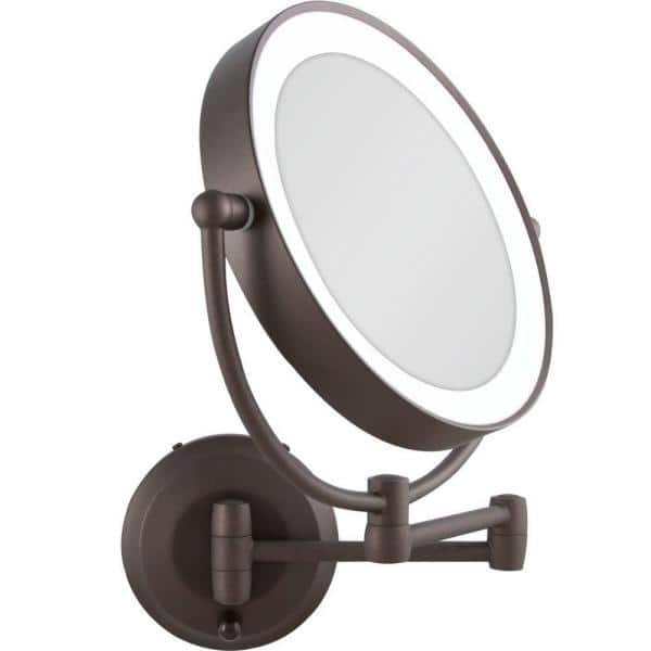 Led Lighted Round Wall Mount Bi View, Oil Rubbed Bronze Lighted Make Up Mirror