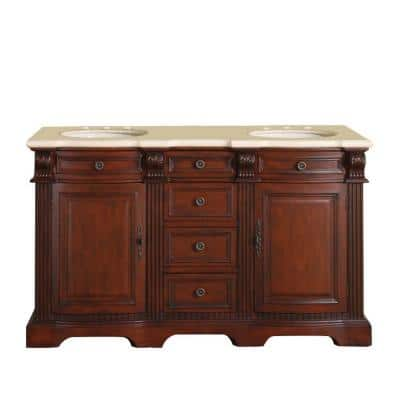 58 in. W x 22 in. D Vanity in Brazilian Rosewood with Marble Vanity Top in Crema Marfil with White Basin
