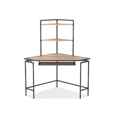 51 in. Light Copper and Sand Black Steel Corner Desk with USB Port