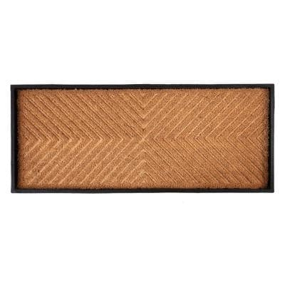 34.5 in. x 14 in. x 1.5 in. Natural & Recycled Rubber Boot Tray with Cross Embossed Coir Insert