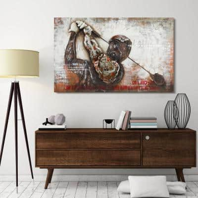"""48 in. x 30 in. """"Golf"""" Mixed Media Iron Hand Painted Dimensional Wall Art"""