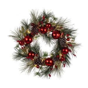 24 in. LED Pre-Lit Greenery Berry Holly Pine Cone Red Artificial Christmas Wreath