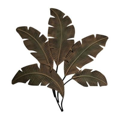 Green and Brown Metal Wall Decor Palm Leaf