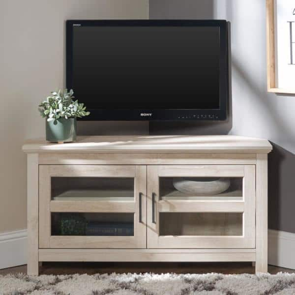 Walker Edison Furniture Company Cordoba 44 In White Oak Wood Corner Tv Stand 50 In With Doors Hdq44ccrwo The Home Depot