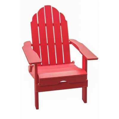 37.8 in. H, Outdoor Red Foldable Made of HDPE Plastic Resin Lumber Adirondack Chair