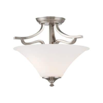 Treme 2-Light Brushed Nickel Semi-Flushmount