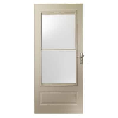 36 in. x 80 in. 400 Series Sandtone Universal Self-Storing Aluminum Storm Door with Nickel Hardware