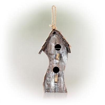 17 in. Tall Outdoor Abstract Swirly Hanging Wooden Birdhouse, White